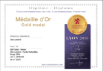 medaille d'or concours international Lyon 2016